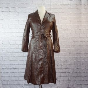 Vintage Custom Made Brown Leather Trench Coat XL